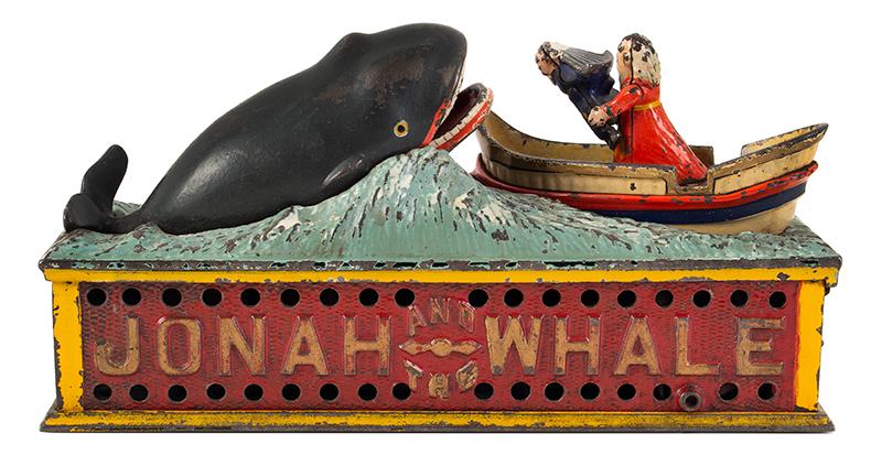Mechanical bank, Jonah, & the Whale, Shepard Hardware Company, Buffalo, NY, entire view 3