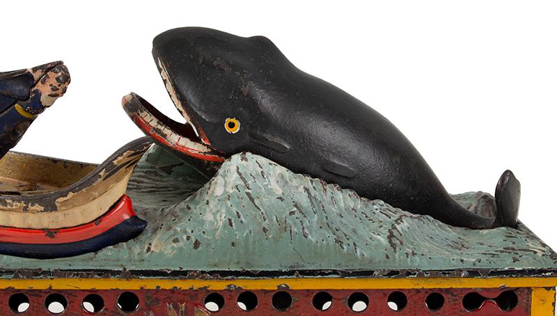 Mechanical bank, Jonah, & the Whale, Shepard Hardware Company, Buffalo, NY, detail view 2