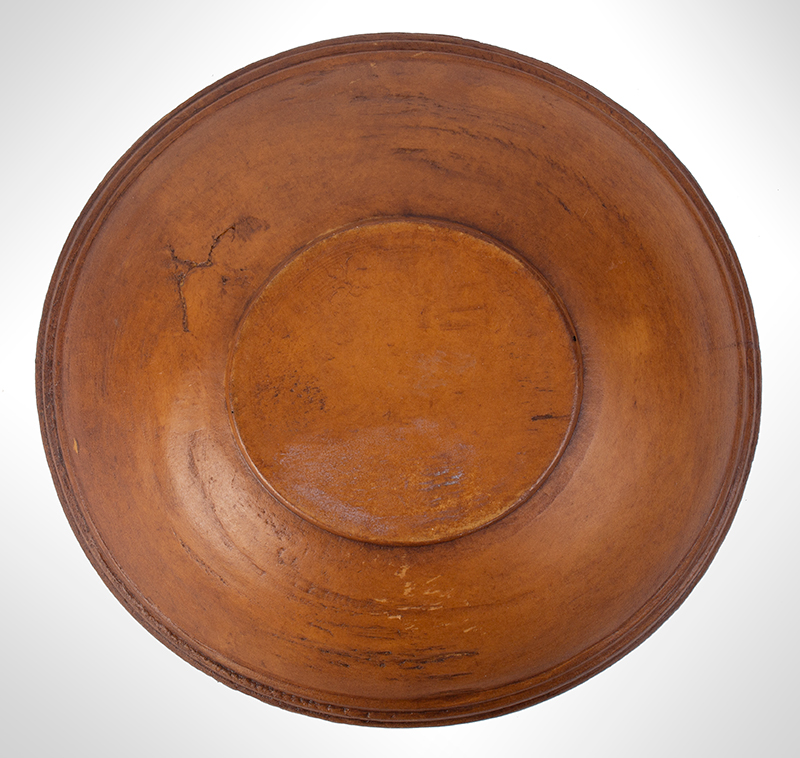 Antique Treen Bowl, Turned, bottom view