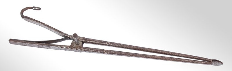 18th Century Pipe Tongs – Ember Tongs with Tamper, File Work, entire view 1