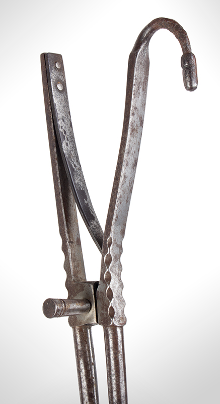 18th Century Pipe Tongs – Ember Tongs with Tamper, File Work, detail view 1