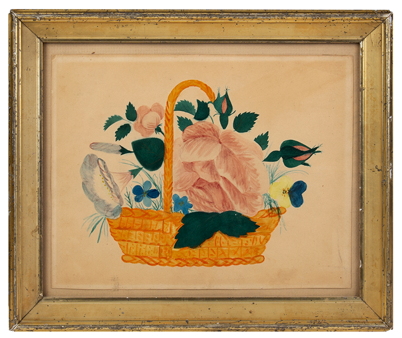 Watercolor Theorem, and Hand Drawn, Basket of Flowers, entire view