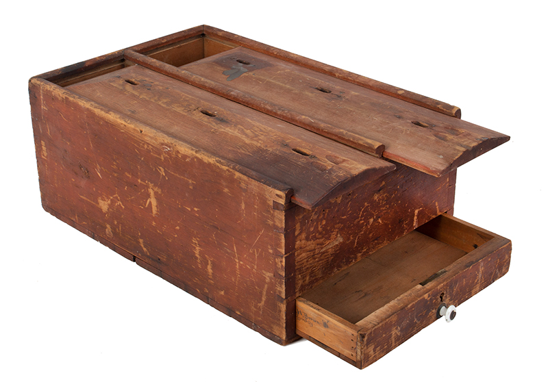 Ballot Box, Double Slide Lid, Drawer, Finely Constructed, Original Red Paint, entire view