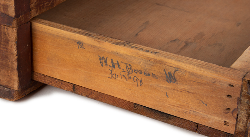 Ballot Box, Double Slide Lid, Drawer, Finely Constructed, Original Red Paint, detail view