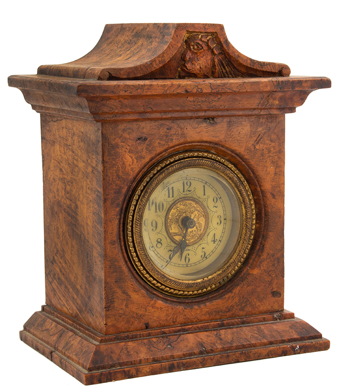Small Burl Walnut Shelf Clock, entire view 2