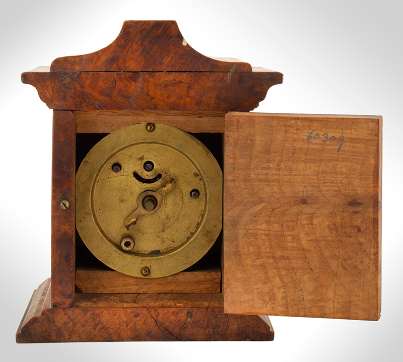 Small Burl Walnut Shelf Clock, entire view 4