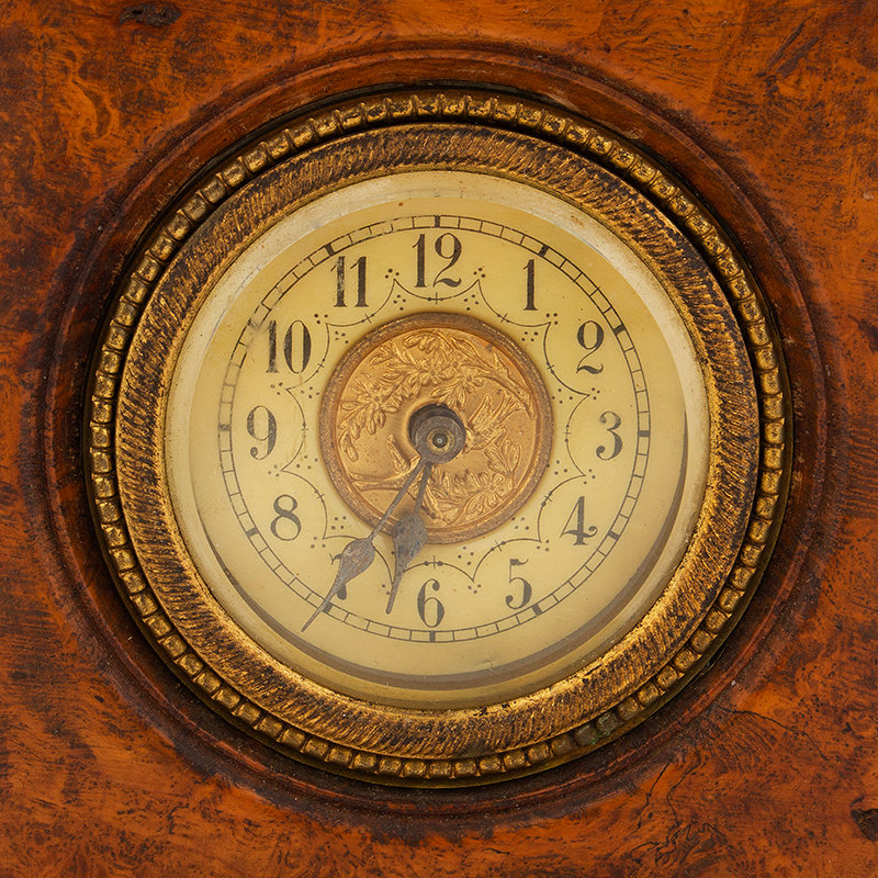 Small Burl Walnut Shelf Clock, face view