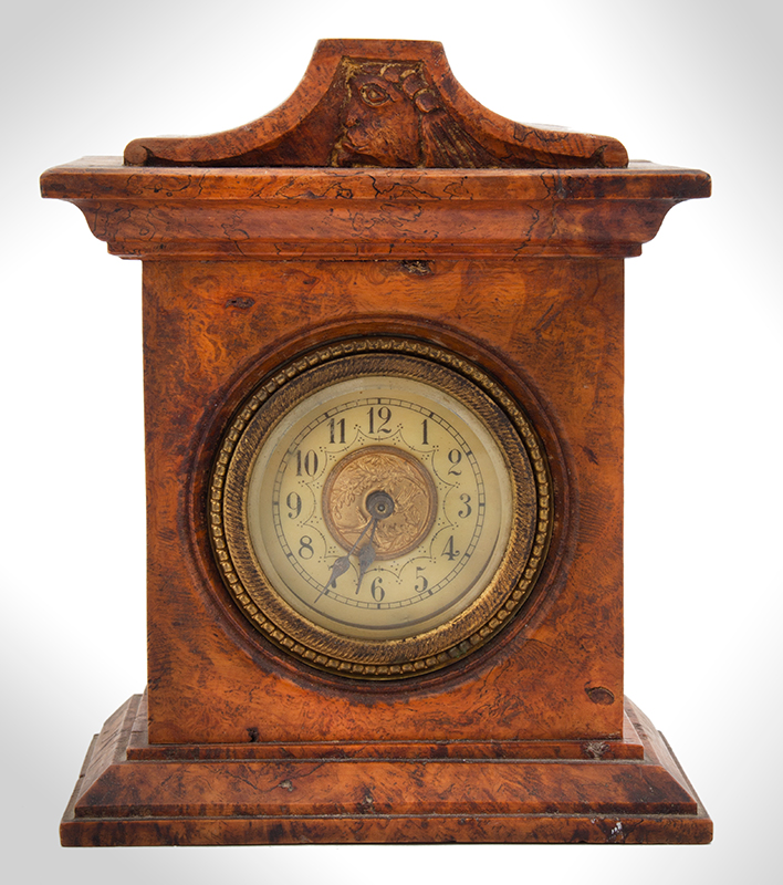 Small Burl Walnut Shelf Clock, entire view 1