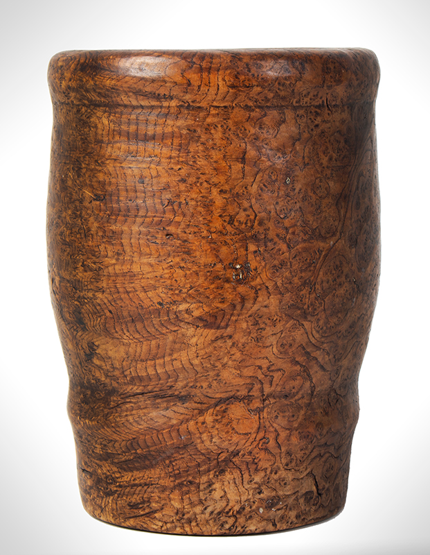 Eighteenth Century Ash Burl Mortar, Rich Color and Patina, Small Size American, entire view 2