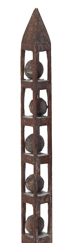 Folk Carving, Whimsey Tower, 14 Puzzle Balls, Only 5/8 Inches Square Height: 14-inches, Delicate, detail view 1