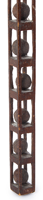 Folk Carving, Whimsey Tower, 14 Puzzle Balls, Only 5/8 Inches Square Height: 14-inches, Delicate, detail view 2