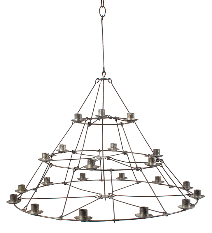 Antique, Candle Chandelier, Cage Hoop Three Tier Conical Form, 21 Sockets, entire view 1