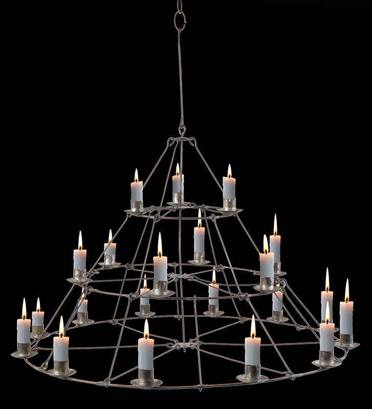 Antique, Candle Chandelier, Cage Hoop Three Tier Conical Form, 21 Sockets, entire view with candles