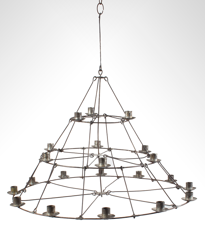 Antique, Candle Chandelier, Cage Hoop Three Tier Conical Form, 21 Sockets, entire view 3