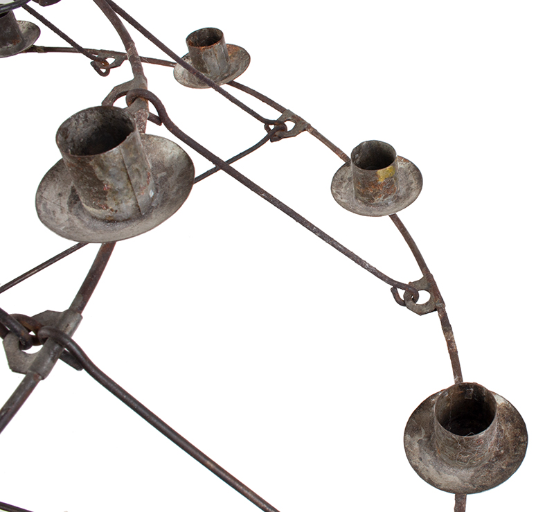 Antique, Candle Chandelier, Cage Hoop Three Tier Conical Form, 21 Sockets, detail view