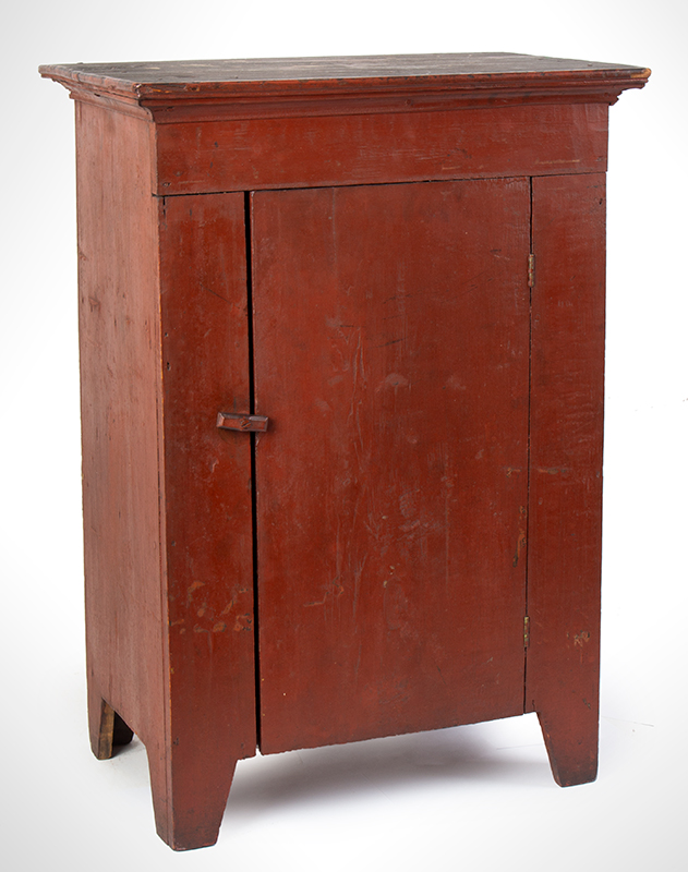 Child's Cupboard in Red Paint, Great Pigment and Patina, entire view 1