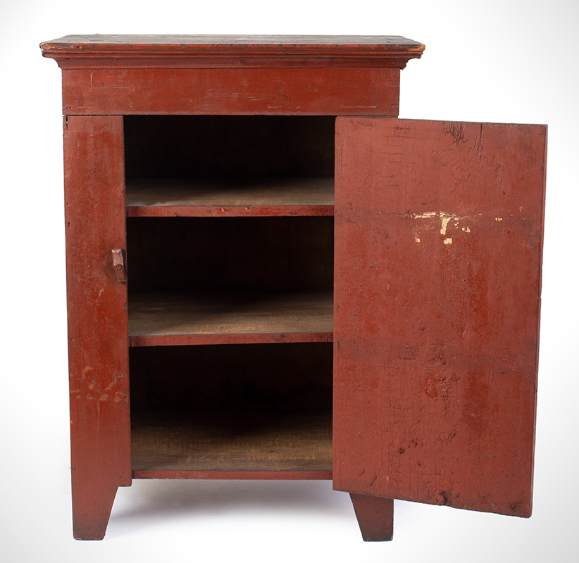 Child's Cupboard in Red Paint, Great Pigment and Patina, entire view 2