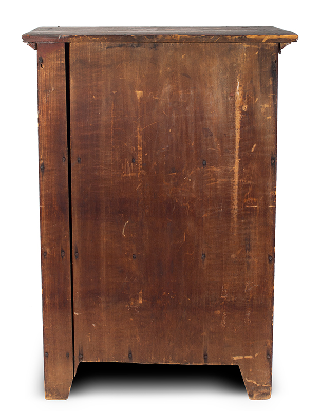 Child's Cupboard in Red Paint, Great Pigment and Patina, entire view 3