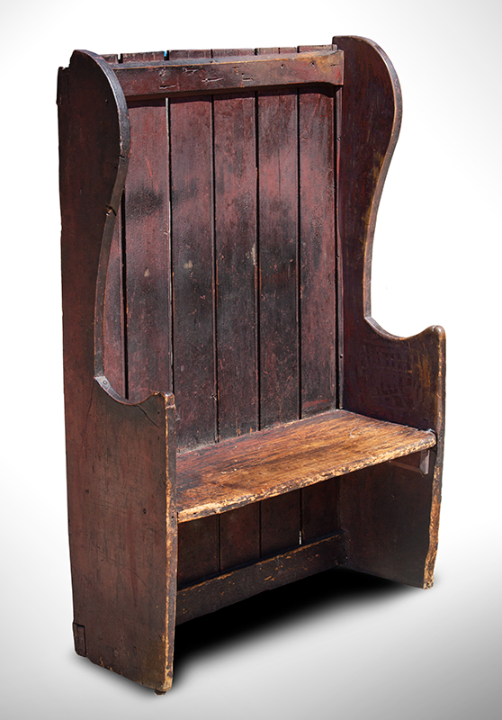 Small Winged Settle Bench in Historic Surface, Red Paint, Great Patina, England, entire view 1