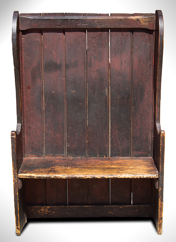 Small Winged Settle Bench in Historic Surface, Red Paint, Great Patina, England, entire view 2