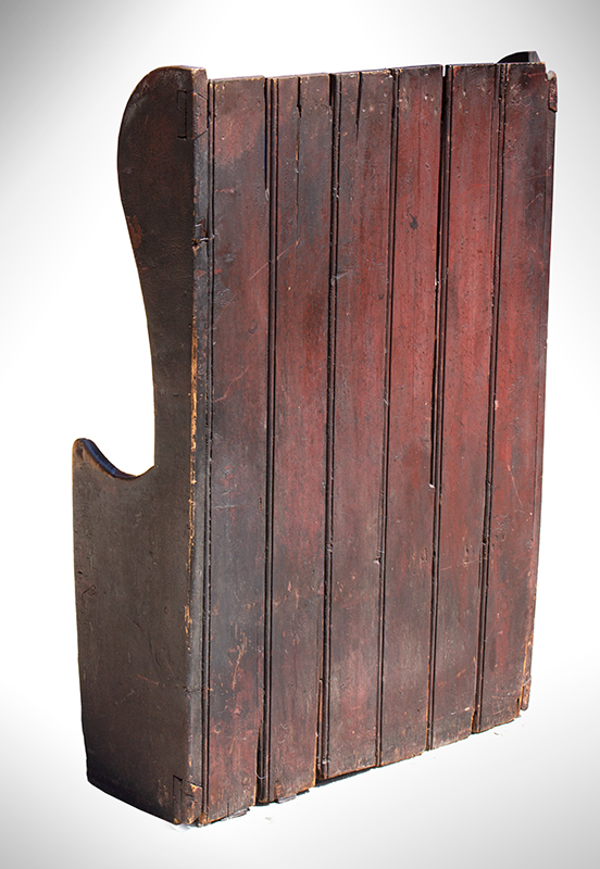 Small Winged Settle Bench in Historic Surface, Red Paint, Great Patina, England, entire view 3