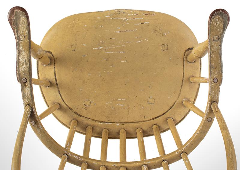 Children's Windsor Armchair, Sack-Back, Possibly Boston or Salem Massachusetts, seat view