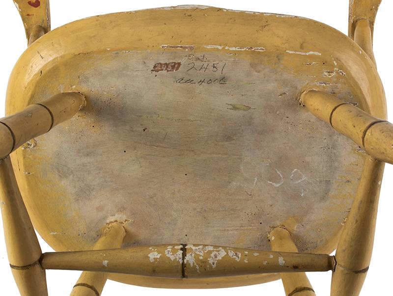 Children's Windsor Armchair, Sack-Back, Possibly Boston or Salem Massachusetts, bottom view