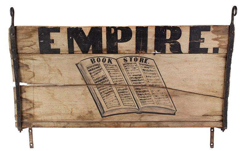 Antique Wagon Seat Trade Sign, EMPIRE BOOK STORE Possibly New York, entire view 1