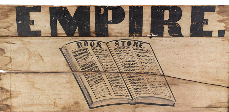 Antique Wagon Seat Trade Sign, EMPIRE BOOK STORE Possibly New York, entire view 2