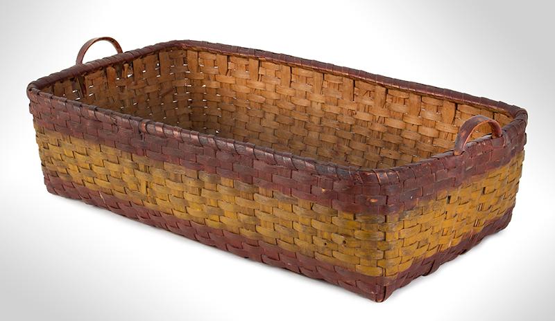 Antique Basket, Rectangular Gathering Basket, Original Paint, Carved Side Handles, entire view