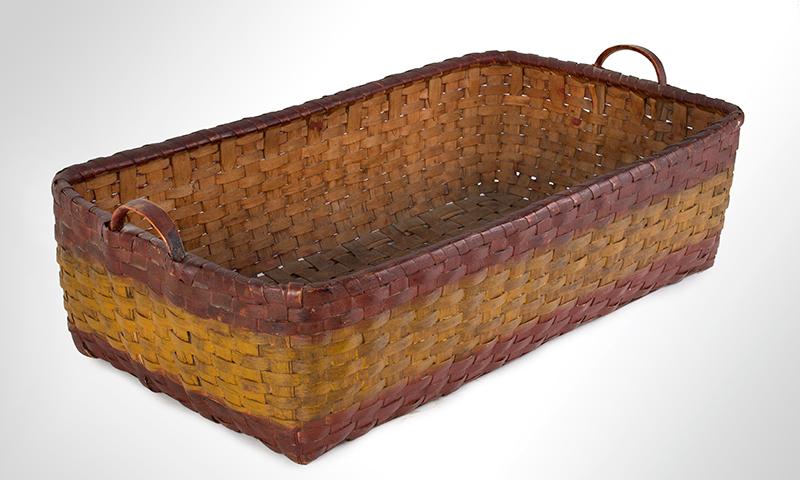 Antique Basket, Rectangular Gathering Basket, Original Paint, Carved Side Handles, entire view 2