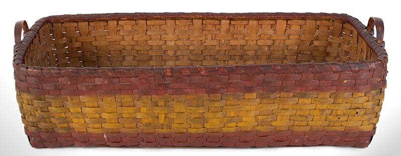 Antique Basket, Rectangular Gathering Basket, Original Paint, Carved Side Handles, entire view 3