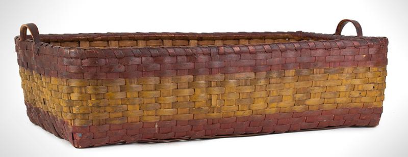Antique Basket, Rectangular Gathering Basket, Original Paint, Carved Side Handles, entire view 4