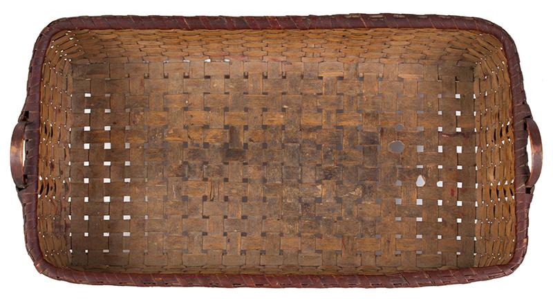 Antique Basket, Rectangular Gathering Basket, Original Paint, Carved Side Handles, interior