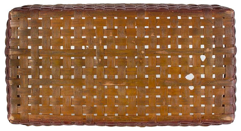 Antique Basket, Rectangular Gathering Basket, Original Paint, Carved Side Handles, bottom view