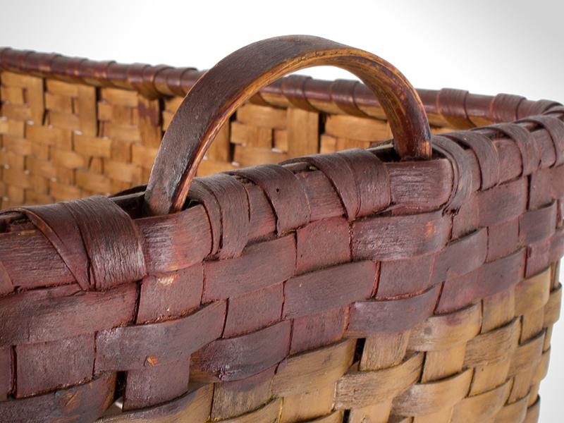 Antique Basket, Rectangular Gathering Basket, Original Paint, Carved Side Handles, detail view