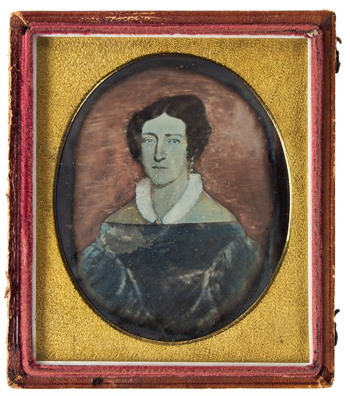 Daguerreotype, Photograph of Folk Portrait, Woman, Puffy Sleave Dress, 1830s, entire view 1