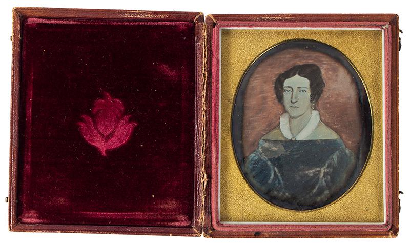 Daguerreotype, Photograph of Folk Portrait, Woman, Puffy Sleave Dress, 1830s, entire view 2