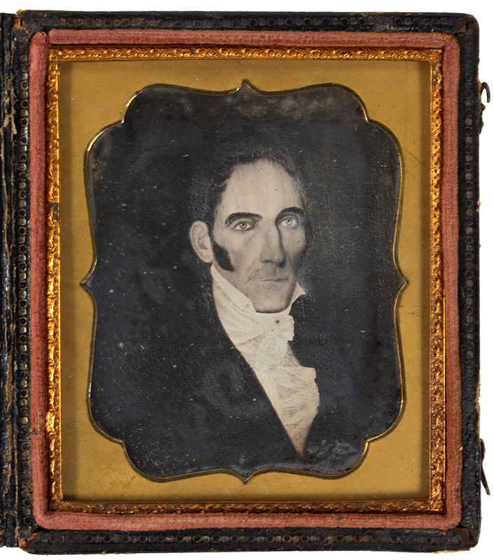 Daguerreotype, Photograph of Folk Portrait, Gentleman, High Cheekbones, entire view 1