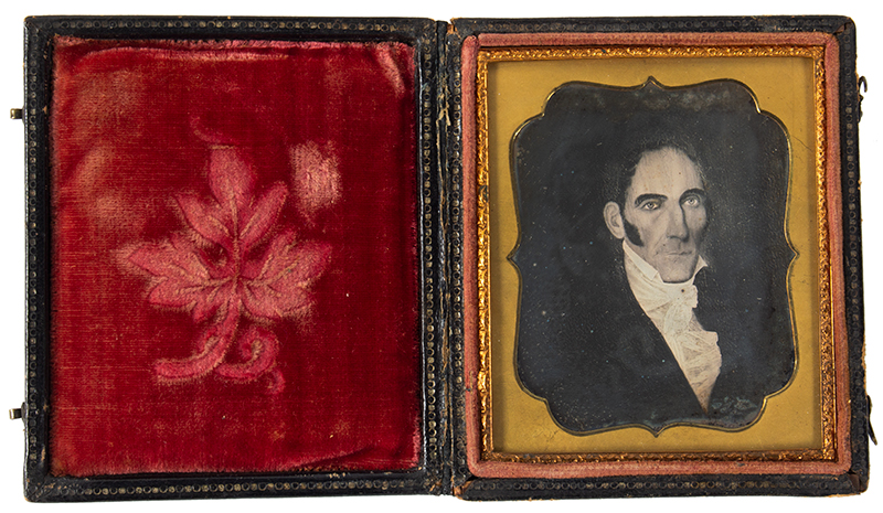 Daguerreotype, Photograph of Folk Portrait, Gentleman, High Cheekbones, entire view 2