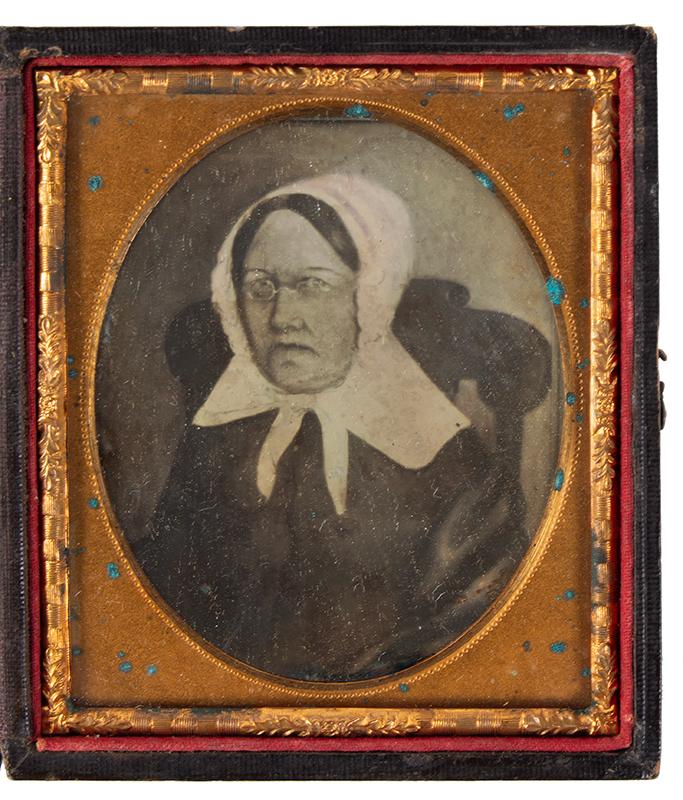 Daguerreotype, Photograph of Folk Portrait, Woman Seated in Boston Rocker, entire view 1