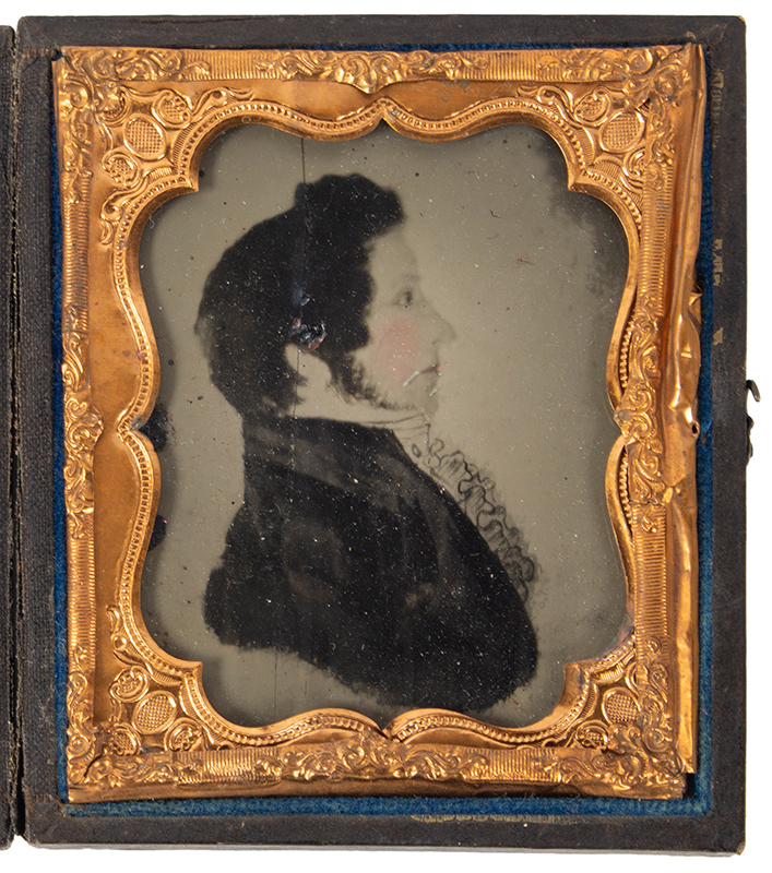 Ambrotype, Photograph of Folk Portrait in Profile, Tinted, Gentleman, entire view 1