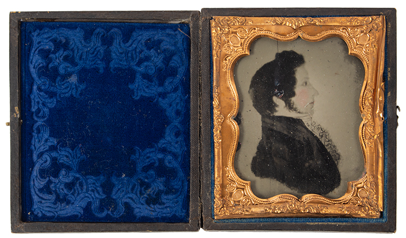 Ambrotype, Photograph of Folk Portrait in Profile, Tinted, Gentleman, entire view 2