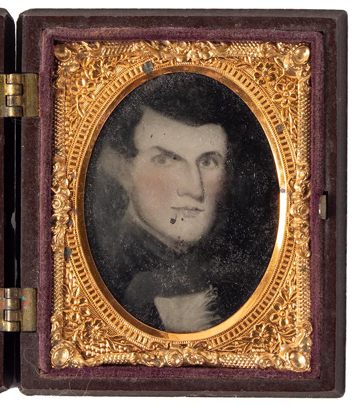 Ambrotype, Photograph of Folk Portrait, Gentleman, Littlefield & Parsons Case, entire view 1