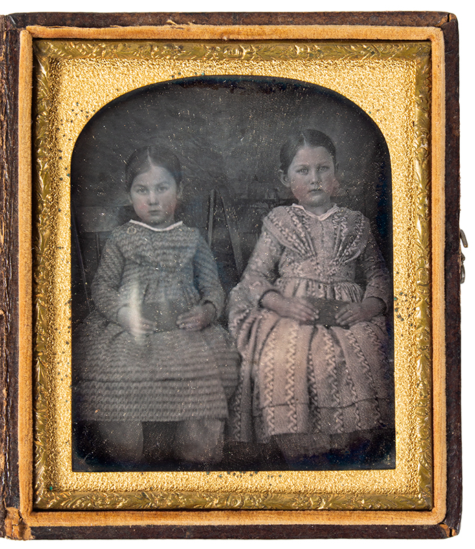 Daguerreotype, Sisters Seated in Windsor Chairs Holding Books, Tinted, entire view 1