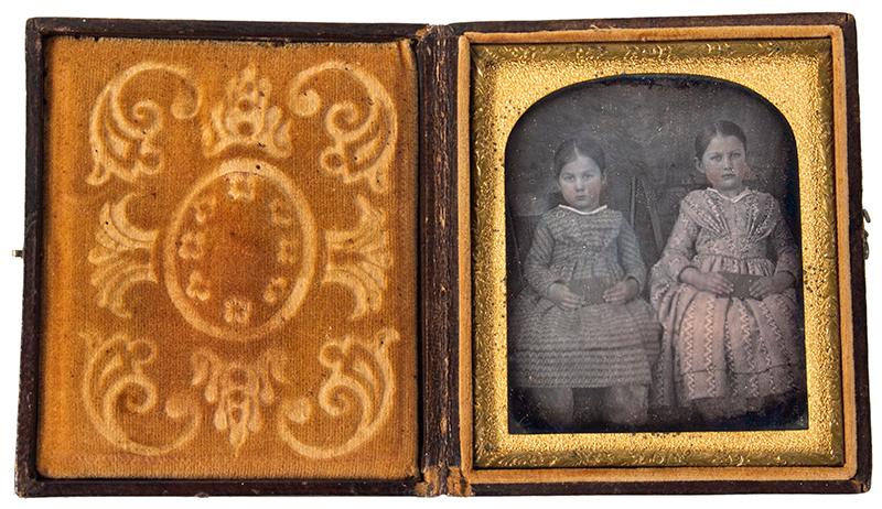 Daguerreotype, Sisters Seated in Windsor Chairs Holding Books, Tinted, entire view 2