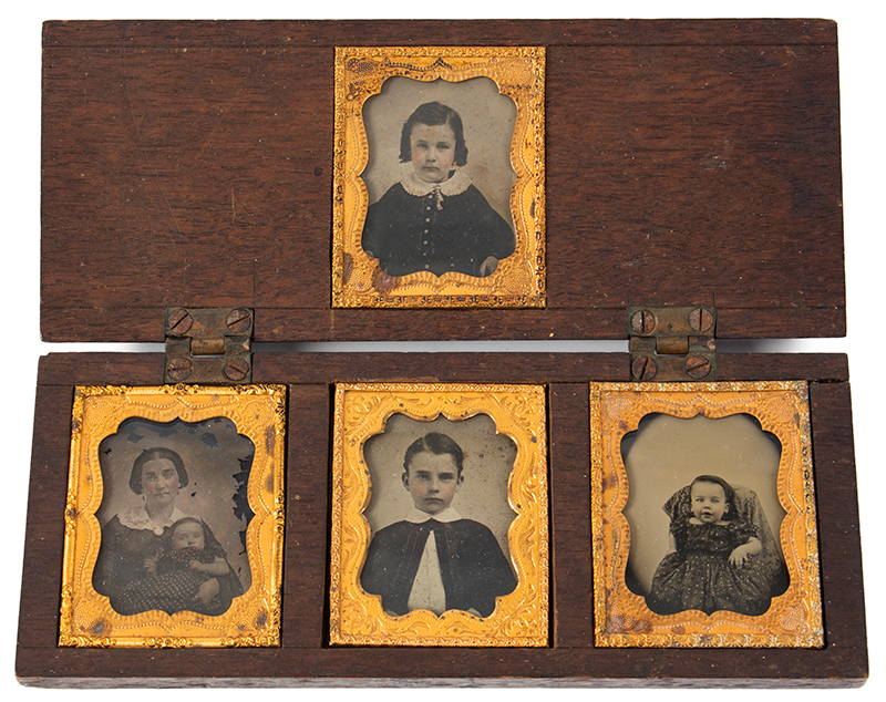 Five Ambrotype Portraits, Mother Holding infant & Three Siblings, Unique Case Walnut Case, 2 DAVIS & CO'S / AMBROTYPE ROOMS labels, entire view