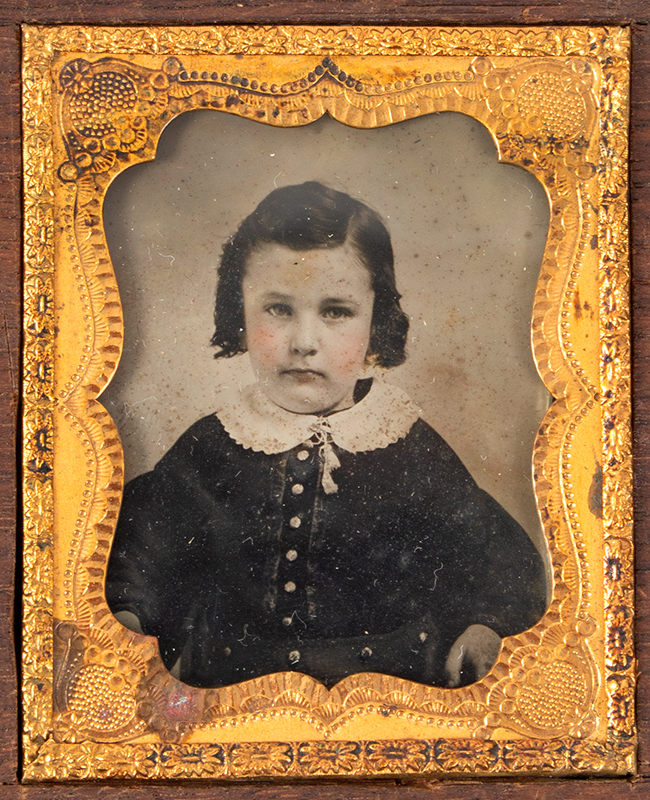 Five Ambrotype Portraits, Mother Holding infant & Three Siblings, Unique Case Walnut Case, 2 DAVIS & CO'S / AMBROTYPE ROOMS labels, photo 1