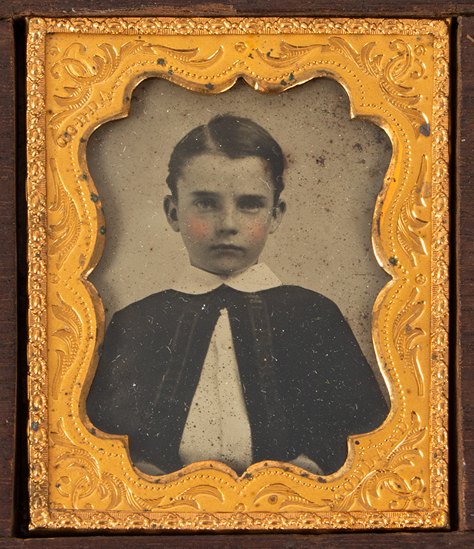 Five Ambrotype Portraits, Mother Holding infant & Three Siblings, Unique Case Walnut Case, 2 DAVIS & CO'S / AMBROTYPE ROOMS labels, photo 2
