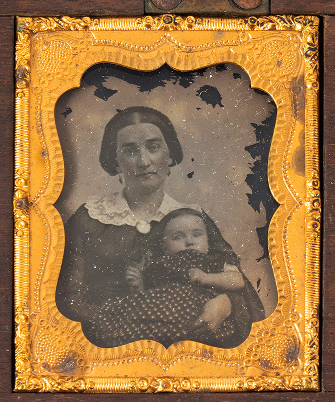 Five Ambrotype Portraits, Mother Holding infant & Three Siblings, Unique Case Walnut Case, 2 DAVIS & CO'S / AMBROTYPE ROOMS labels, photo 3